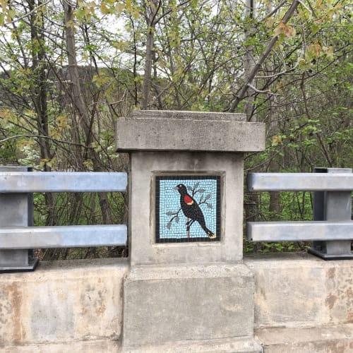Public Mosaics by Beth Klingher seen at Blake Street, New Haven - Bird Mosaics