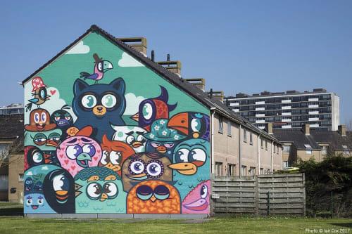 Street Murals by Bue The Warrior at The Crystal Ship Street Art Festival, Ostend - Vogel voor de kat