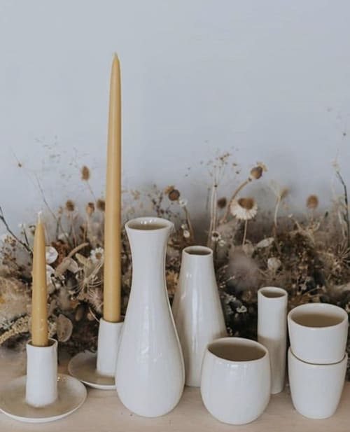 Tableware by FebbieDay Ceramics seen at Casterley Barn, Pewsey - Porcelain Vases, Cups & Candle Sticks