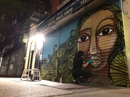 Street Murals by Alice Mizrachi seen at Heavy Metal Bike Shop, New York - Harlem Bike Shop Mural