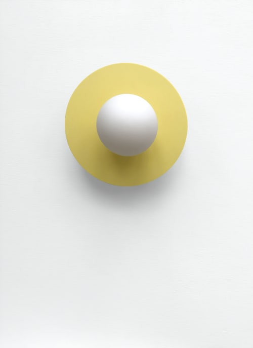 Sconces by What The Mood seen at Private Residence, Bristol - Full Moon - Yellow | Brass Wall Light