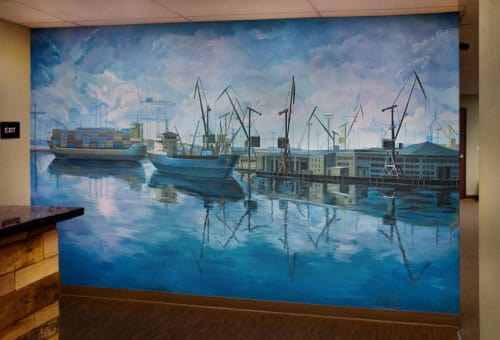 "Murals by Yulia Avgustinovich seen at Oakland, Oakland - Wall Mural Painting ""Port of Oakland"""