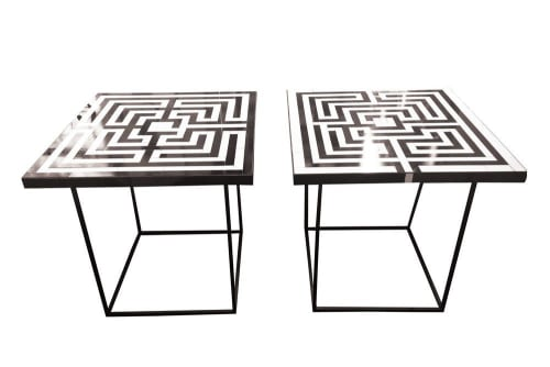 Tables by Ercole seen at Four Seasons Resort and Residences Anguilla, West End - Labyrinth White and Grey Tables
