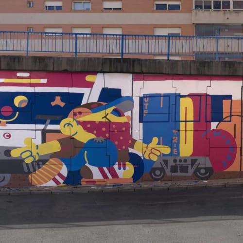 Street Murals by gr170 seen at Sant Joan d'Alacant, Sant Joan d'Alacant - HOLA POLICIA