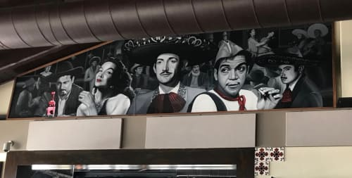 Murals by Avid Illustrations seen at Carmelita's Kitchen de Mexico, Laguna Beach - 50's Famous Mexican Actors