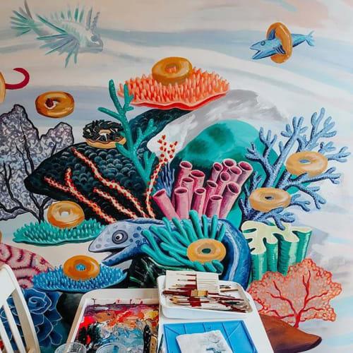 Murals by Mariel Pohlman seen at Lakewood, Dallas - Jaram's Donut Shop Mural