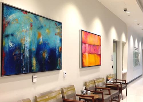 Paintings by ERIN ASHLEY seen at 3880 Tamiami Trail N, Naples - Art for lobby of Bascom Palmer. Custom Paintings titled: Journey's Mood, House Of Blues & Catalina Coast