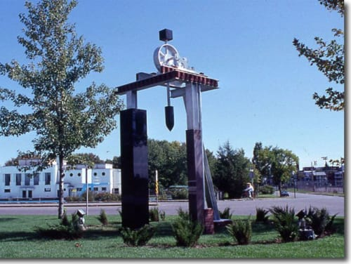 Public Sculptures by Roger Gaudreau seen at Centre des arts De Shawinigan, Shawinigan - Shawinigan Water and Poésie