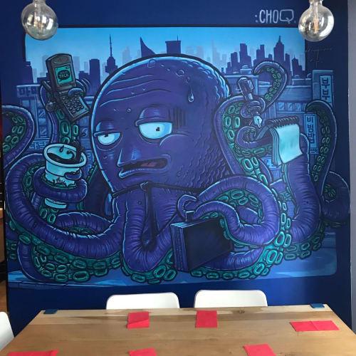 Murals by Choq seen at La Bibimerie - Restaurant Coréen, Paris - Korean Octopus