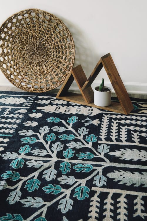 Rugs by Qadimi seen at Private Residence, Raleigh - Origins in Indigo Afghan Persian Rug