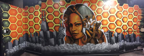Murals by Rahmaan Statik Barnes seen at 1819 W 103rd St, Chicago - Bee Hive