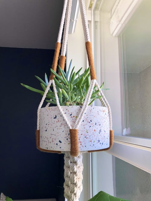 Macrame Wall Hanging by Knots to Mention seen at Private Residence, Ventura - Little Urban Less Knotty Plant Hanger