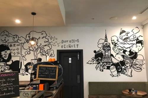 Murals by Nick Zafir seen at Cravings Cafe, Perth - Indoor Mural
