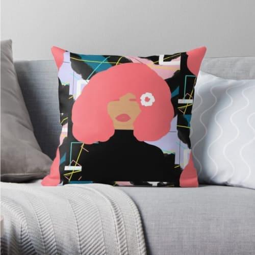 Pink hair woman pillow
