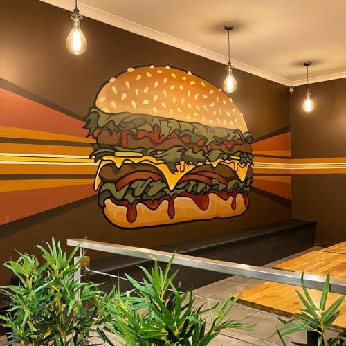 Murals by JAMIN seen at Brown Burgers, Moonah - Burger Mural