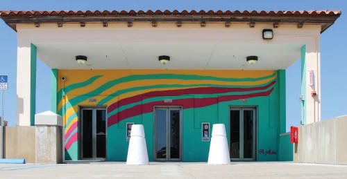 Murals by Lisa Kaw seen at Hibiscus Parking Garage, West Palm Beach - City Sunset