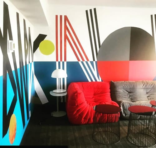 Murals by Cyrille Conan seen at Studio Allston Hotel, Boston - Kenavo (Good Bye)