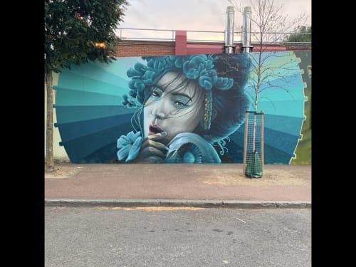 Murals by Art of Alijens seen at London, London - Blue Geisha