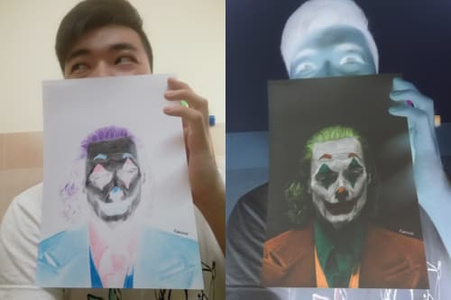 Paintings by Kaeious Art seen at Private Residence, Kulim - Joker of Negative Thoughts - Drawing of Joker in inverted color
