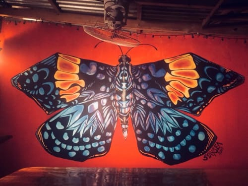 Murals by StaySeaArt seen at Los Almendros, Esterillos Oeste - Memoriam Butterfly for Client