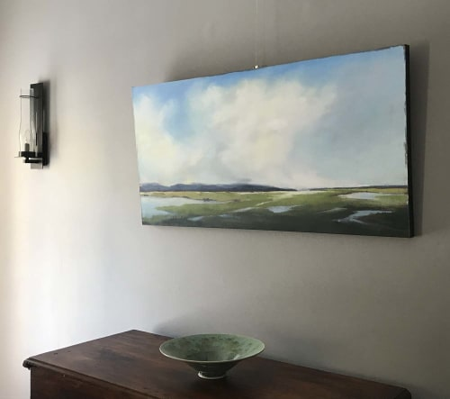 "Paintings by Carrie Megan seen at Private Residence, Denver - ""Marsh Meditation,"" oil painting"