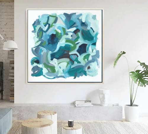 Paintings by Linnea Heide contemporary fine art seen at Private Residence, Los Angeles - 'BELL BOTTOM BLUES' original abstract painting by Linnea Heide