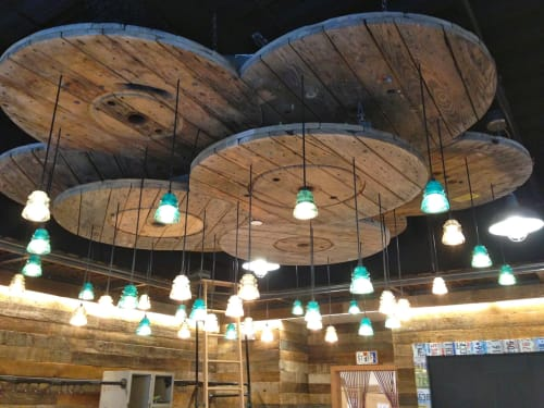 Pendants by RailroadWare Lighting & Hardware seen at KEEN Garage, Palo Alto - Insulator Light Pendant Array
