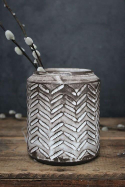 Vases & Vessels by Orange Peel Pottery seen at Creator's Studio, Orange - Herringbone rustic vase