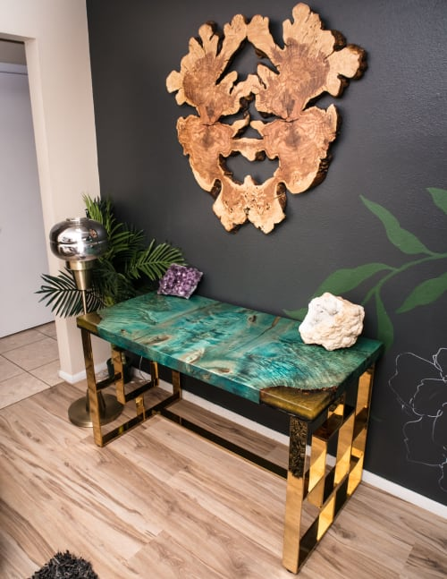 Tables by Lumberlust Designs seen at Creator's Studio, Phoenix - Teal Maple Burl + Gold Brass Executive Lux Desk 24x50