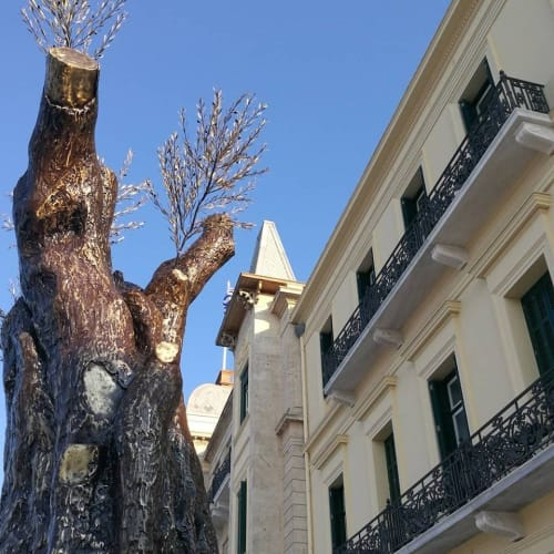 Sculptures by Valaes seen at Poseidonion Grand Hotel Spetses, Spetses - Olive tree sculpture