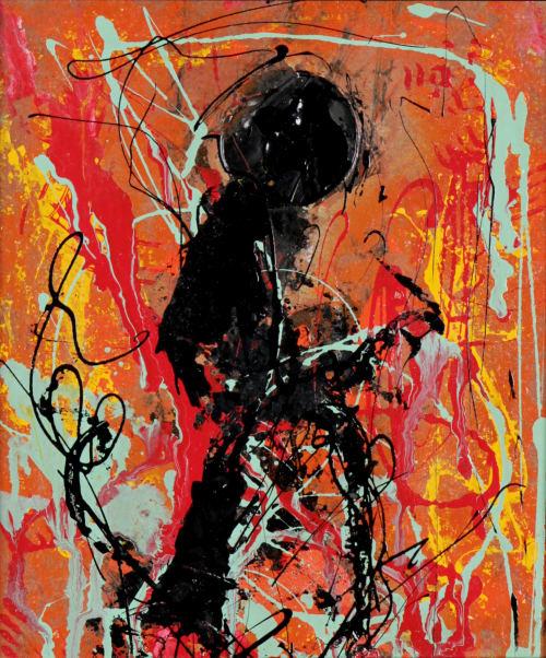 Paintings by Augusto Rodriguez seen at Creator's Studio, Bogotá - MÚSICO - Esmalte Alquídico sobre Cartón. 26x31cm.