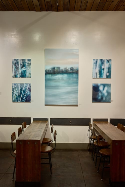 Paintings by Marine Gueguen Strage@ seen at Four Barrel Coffee, San Francisco - Constellation Odyssée the pursuit of Light