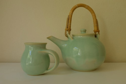 Tableware by Mieke Ceramics seen at Private Residence, Henley Beach South - Handmade ceramic teapot with cane handle