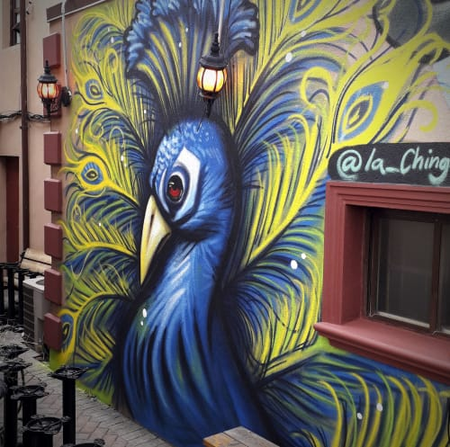 Murals by Dotes seen at La Chingada, Toronto - Mexican influence