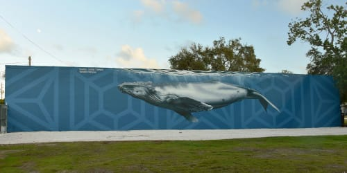 Street Murals by Jason T. Graves seen at Base Camp MIA, Miami - Whale that was fun!