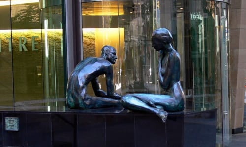 Public Sculptures by Cezary Stulgis seen at Macarthur Chambers, Brisbane City - Dialouge