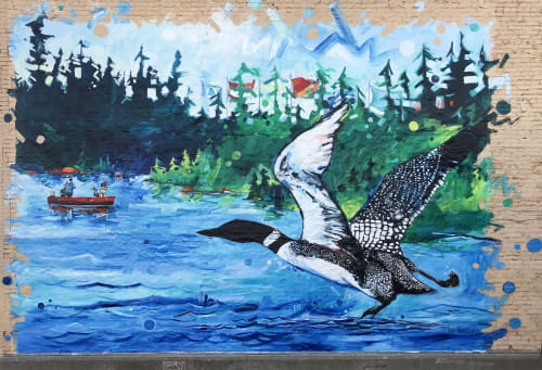 Street Murals by Adam Swanson seen at 106 W Lake St, Chisholm - Loon of Chisholm