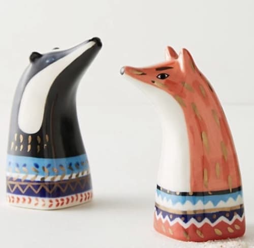 Tableware by BIRDCANFOX seen at Anthropologie, San Francisco - Fox & Badger Pepper and Salt shakers 2016 for Anthropologie