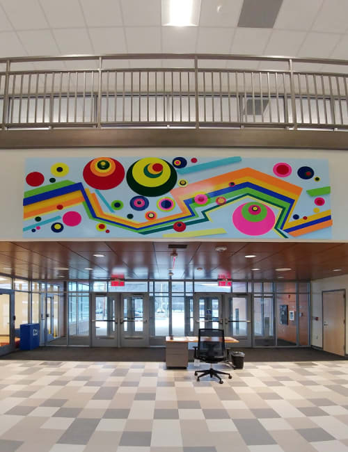Murals by Soonae Tark seen at Barack H. Obama Magnet University School, New Haven - Happy World 1