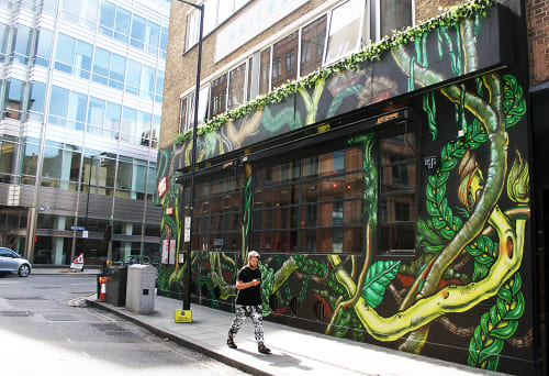 Murals by Amara Por Dios seen at Queen of Hoxton, London - Queen of Hoxton, Exterior