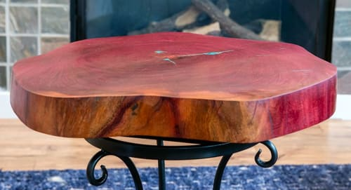 Tables by Natural Wood Edge Creations by Rick Griggs seen at Scottsdale, Scottsdale - Purple Heart Live Edge End Table with Chrysocolla Inlay