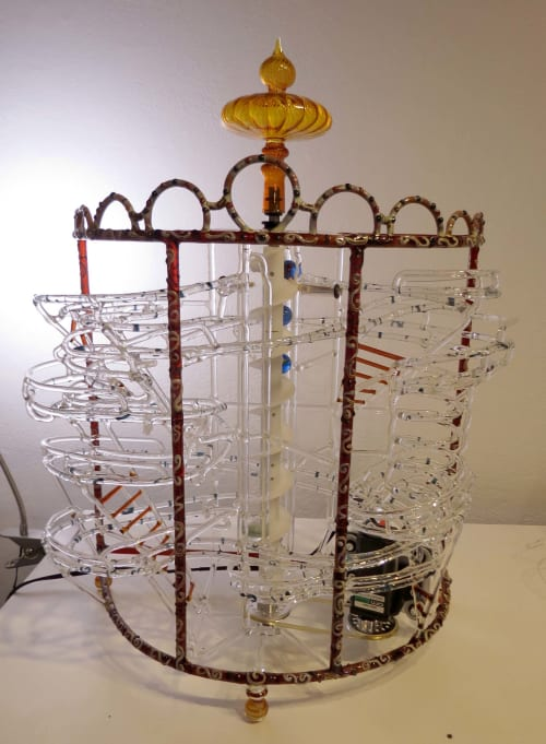 """Sculptures by Bandhu Dunham seen at Private Residence, Chicago - Valkor """"B"""" Series Marble Machine"""