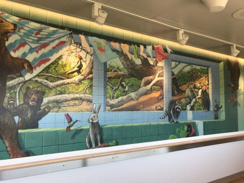 Murals by John O. Wehrle seen at Lucile Packard Children's Hospital Stanford- Oncology, Palo Alto - Continental Drift