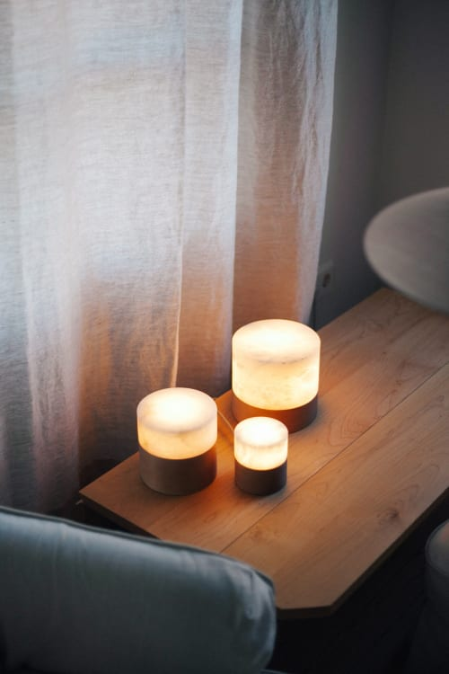 Lamps by Siete Formas seen at Private Residence, Madrid - The Wood and Alabaster Lamp