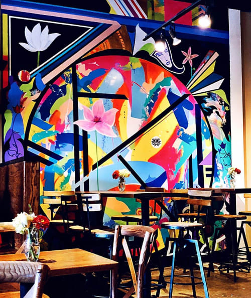 Murals by Jack Graves seen at North American Sake Brewery & Restaurant, Charlottesville - Mural