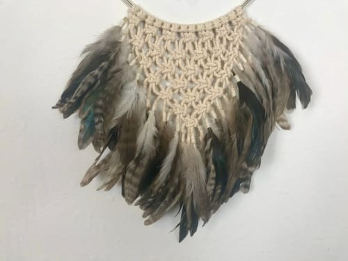 Macrame Wall Hanging by Cosmic String Fiber Art seen at Private Residence, Saint Charles - Macramé Dream Catcher with Bleached Driftwood, Feathers and Crystal - Fiber Art Wall Hanging with Quartz Crystal