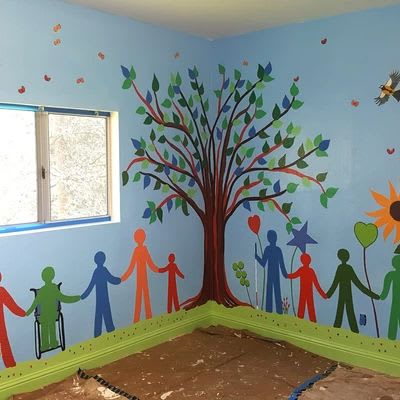 Murals by Flo de Bretagne seen at Via Services West Campus, Cupertino - Indoor Mural