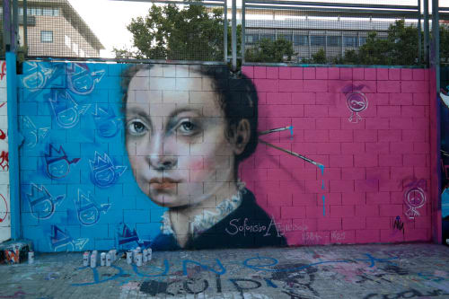 Murals by Laura9, Laura Tietjens seen at Barcelona, Barcelona - portrait of the painter Sofonisba Anguissola