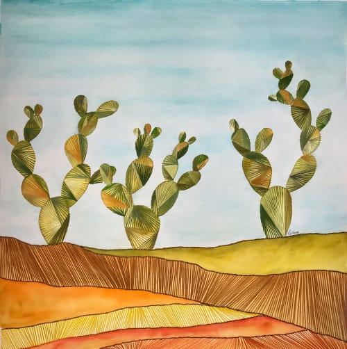 Paintings by Laila Vazquez seen at Creator's Studio, Mexico City - La nopalera