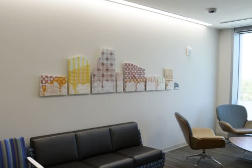 """Art & Wall Decor by Scott Goss Studio seen at Summa Health System – St. Thomas Campus, Akron - """"Building Up"""", Fused and enameled glass"""